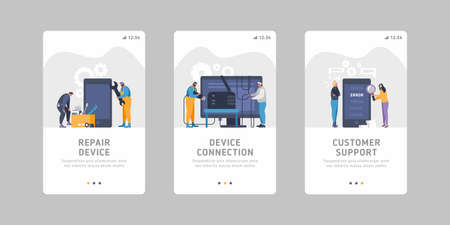 Set of flat mobile slider templates for device service business- device maintenance, handling, device repair, connection issues, bad signal, smartphone errors. Customer service by with online support