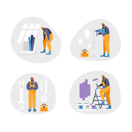 Home repair interior or remodeling vector illustration. Repair man doing renovation at home flat style concept. Work process at room. Special tools and equipment for wall painting, drilling, repair