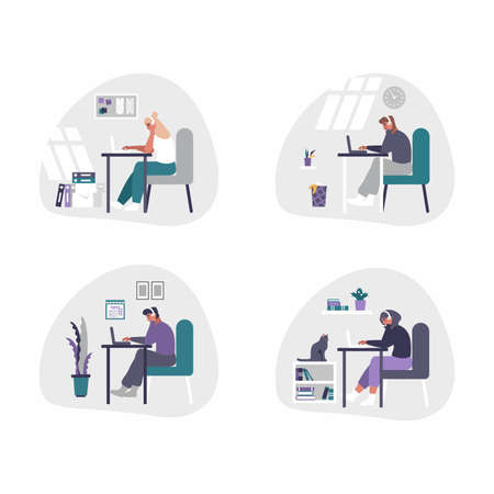 Freelance and business men and women working from home - home office concept illustration. Men and women are tired, bored and fall asleep at desk with laptop.