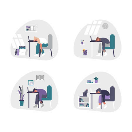 Set of vector men and women working from home - home office concept illustration. Men and women are tired, bored and fall asleep at desk with laptop. Working from home office may be boring.