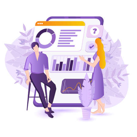 Mobile app for Data analysis and business strategy concept illustration. Woman and man are working with data near big smartphone with charts, pies. Useful business mobile apps for management
