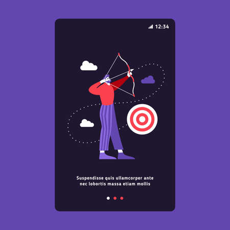Businessman with arch and target. Success business concept. Onboarding Screens User Interface. Modern user interface UX, UI screen template