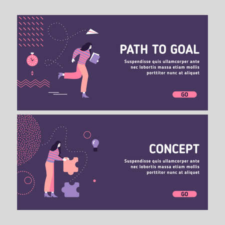 Modern business woman tasks - how to achieve goals and working on succesful business concept. Modern user interface UX, UI landing slider template for web site. Business theme. Vector Illustration