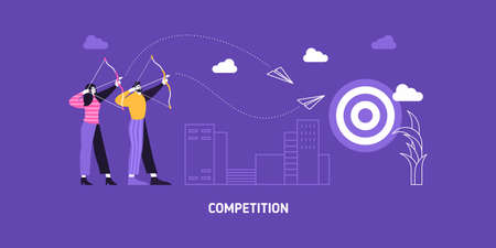 Target business illustration vector aim backgorund. Business man and woman compete in reaching aims. Business goal performance arrow target success. Blue flat modern illustration.