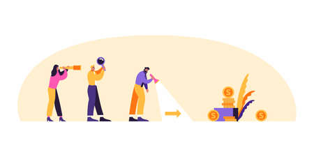 Business man with team are looking for business success and path to goal concept vector flat illustration. Business man with magnifier is searching for income. Vektorové ilustrace