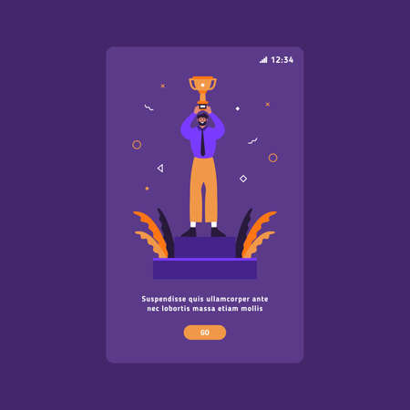 Business success and victory UX mobile slider flat vector template. Succesful businessman holding a winner cup. Vectores