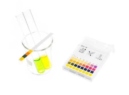 solution: pH paper indicators and tube solution with pH values