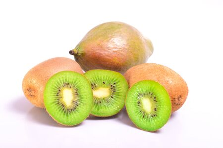 Kiwi and mango on a white background in the cut form