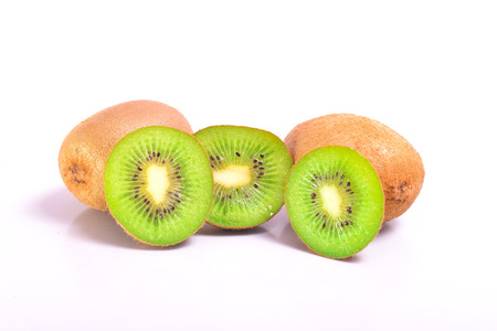 Kiwi on a white background in the cut form