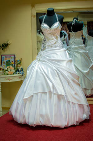 bridal salon: wedding dresses in bridal salon. wedding dresses