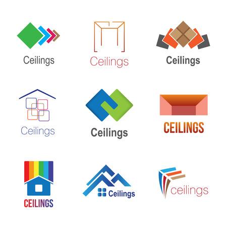 Set di loghi per soffitti, piastrelle, pavimenti e soffitti tesi