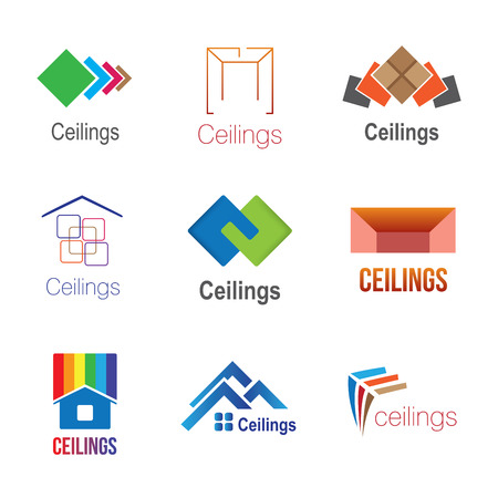 Set of logos for ceilings, tiles, floors and stretch ceilings
