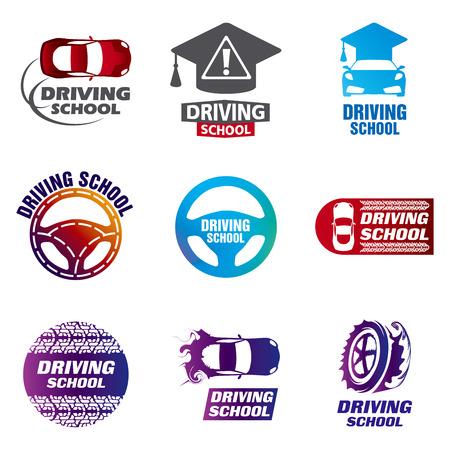 Set van vector logo's rijschool, auto