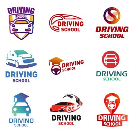 Set of icon driving school, car