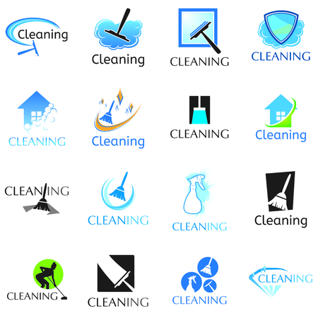 vector set of cleaning service logos