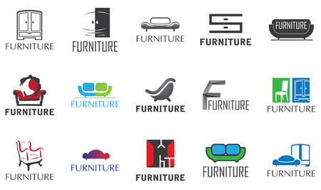 vector set of 15 logos for furniture store