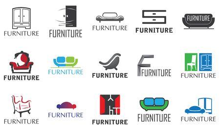 set vettoriale per negozio di mobili