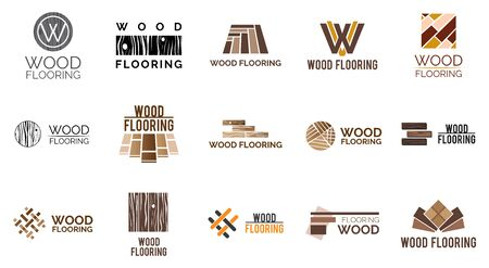 Vector set of logos of wooden floors