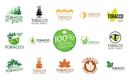 Vector set of logos for natural tobacco products, goods Logo