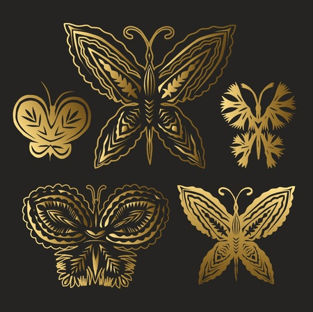 collection of gold butterflies Stock Vector - 18546119