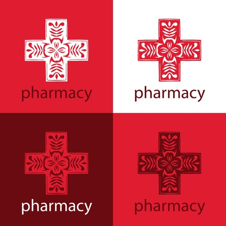 medicine logo: logo medicina rojo Vectores