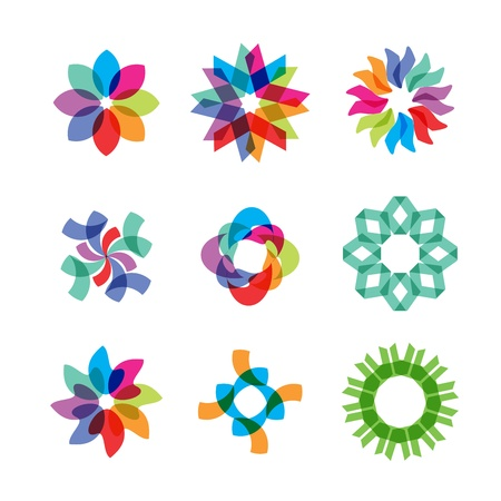 colored flower icons 向量圖像