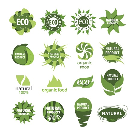 ecology emblem: icons of natural products Illustration