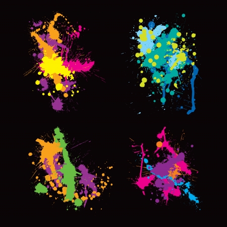 'paint splatter': colored stains blots Illustration