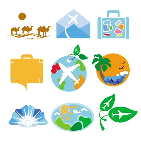 mountain holidays: Collection of vector logos for travel agencies