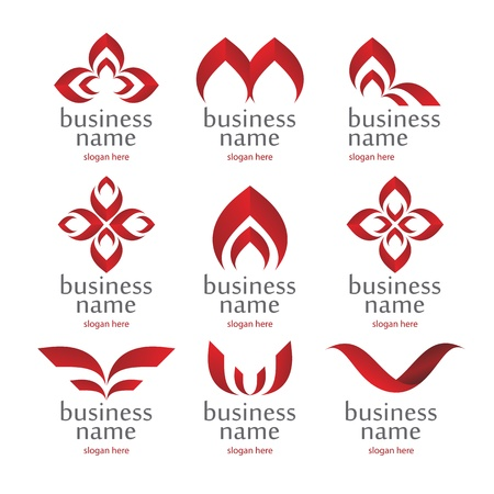 logo medicina: colecci�n de vectores de iconos rojos abstractos Vectores