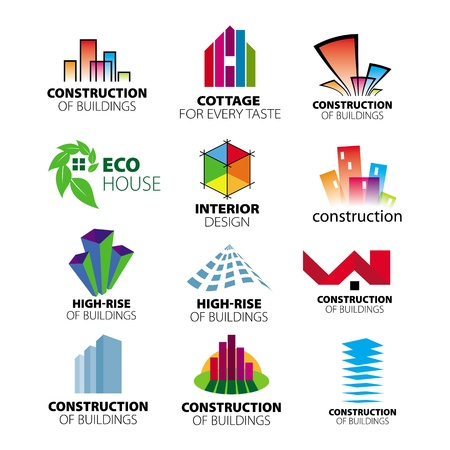 abstract logos: collection of vector logos construction and home improvement