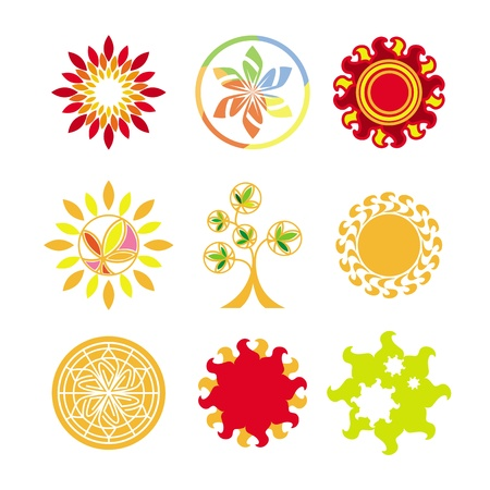 collection of vector logos in the form of the sun Vector