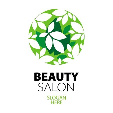 beauty salon: green ball of leaves logo for beauty salon