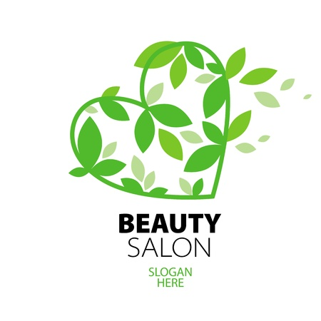 logo heart of green leaves to the beauty salon Illustration