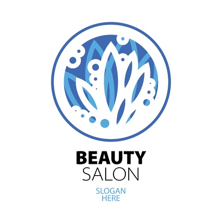 blue ball of leaves logo for beauty salon Vector