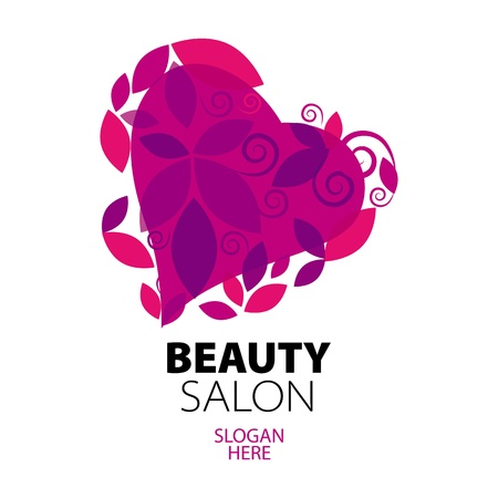 solarium: logo heart of red leaves to the beauty salon