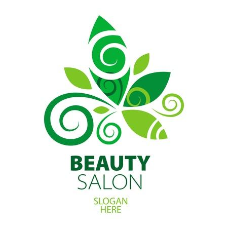 rejuvenation: composition of green leaf logo for beauty salon