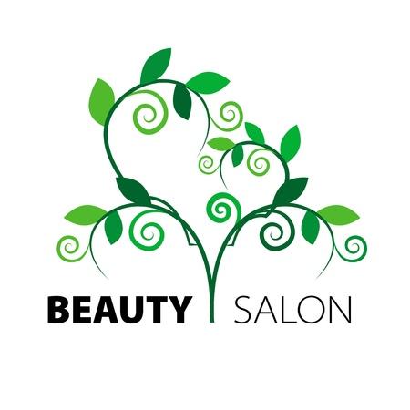 rejuvenating: logo albero cuore di foglie verdi nel salone di bellezza Vettoriali