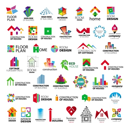 collection of logos construction and home improvement Vector