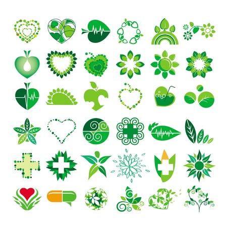 inzameling van emblemen gezondheid en het milieu