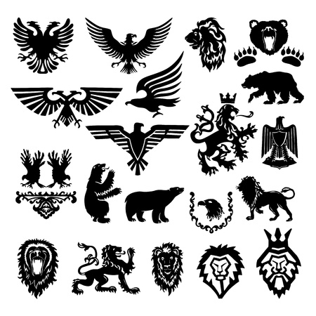 heraldic lion: stylized heraldic symbol