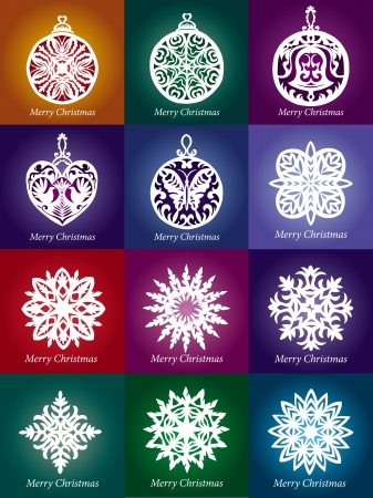 collection of lacy snowflake Christmas decoration Vector