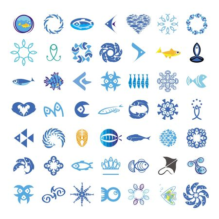 frozen fish: collection of vector icons with the fishes