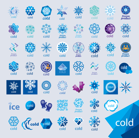 cold storage: biggest collection of vector icons cold and frost