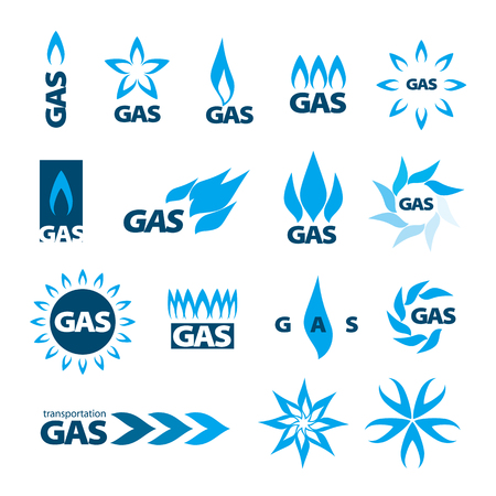 button icons: collection of vector icons of natural gas Illustration