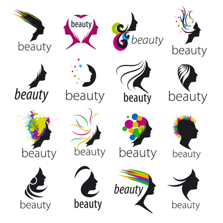 salon hair: collection of vector icons beautiful female face