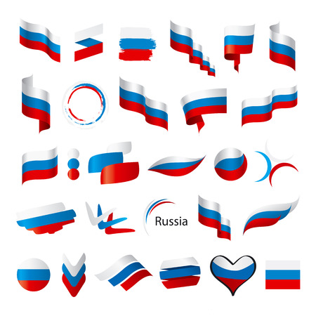 biggest collection of vector flags of Russia  Illustration