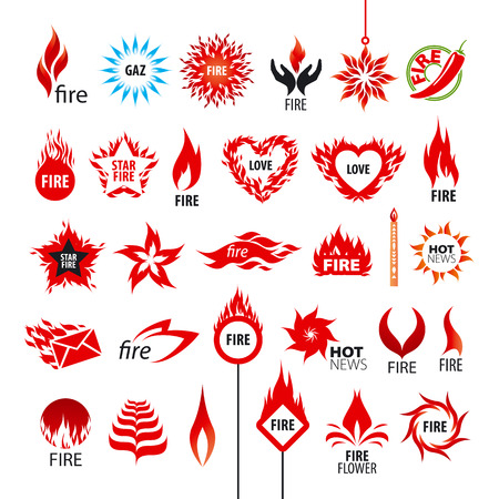 gas flame: biggest collection of vector icons fire and flames