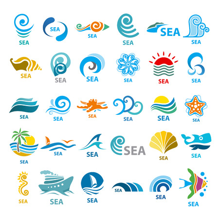 Big collection of vector icons sea