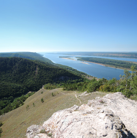 the volga river: view of the Volga River with the mountains on a summer day  Stock Photo